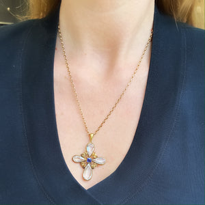 Victorian Rock Crystal and Sapphire Cross Pendant