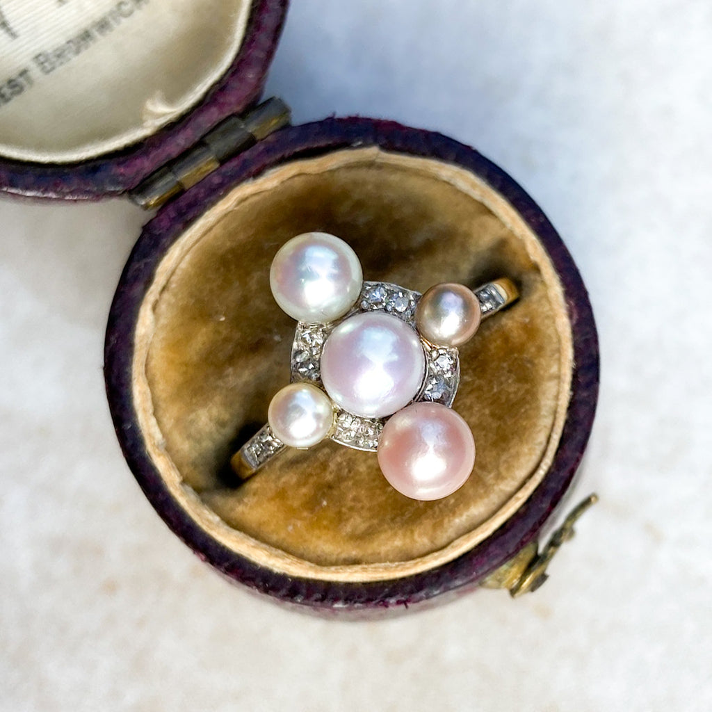 Pearl and Diamond Edwardian Cross Ring; Platinum and gold