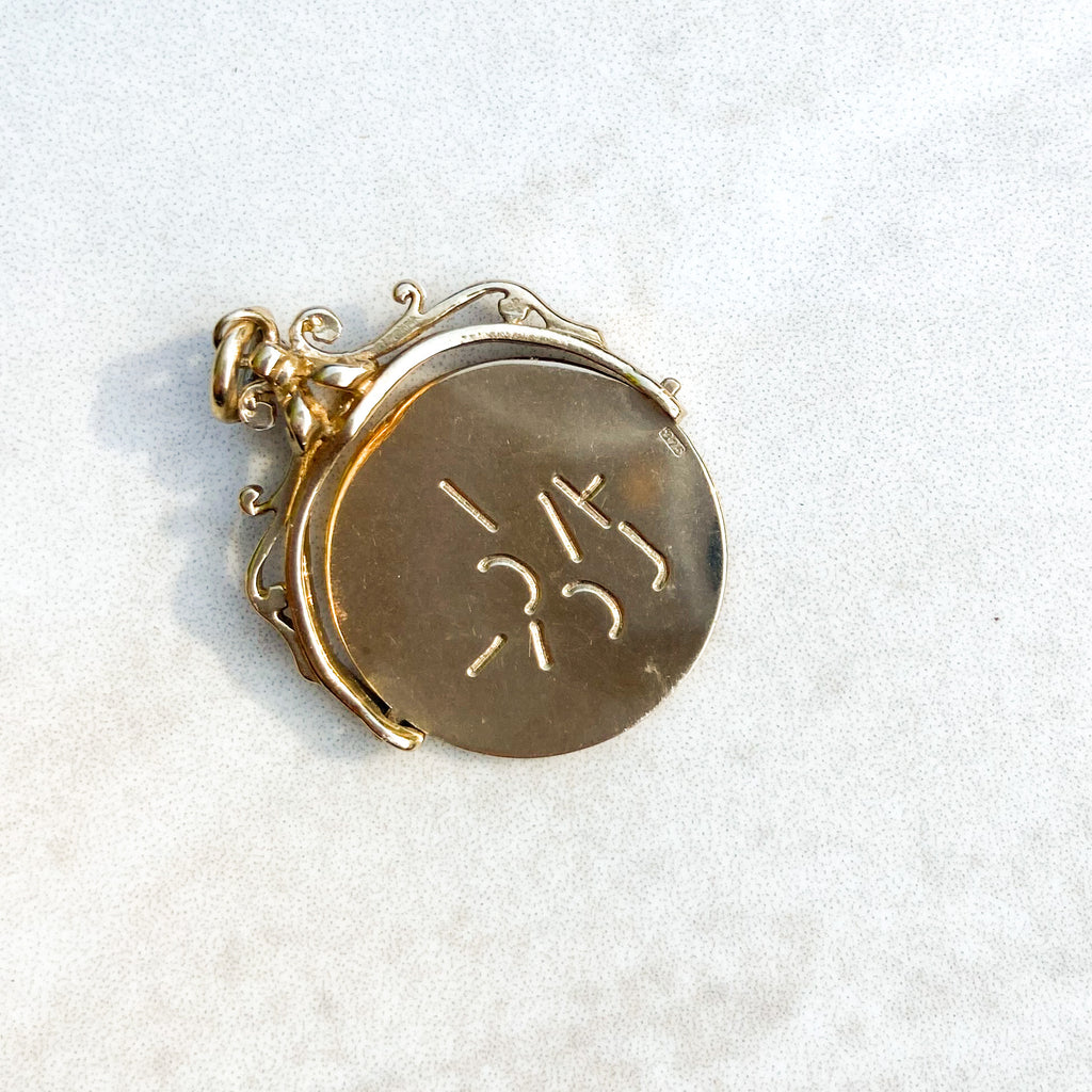 Vintage 9ct Gold 'I LOVE YOU' Spinner Pendant