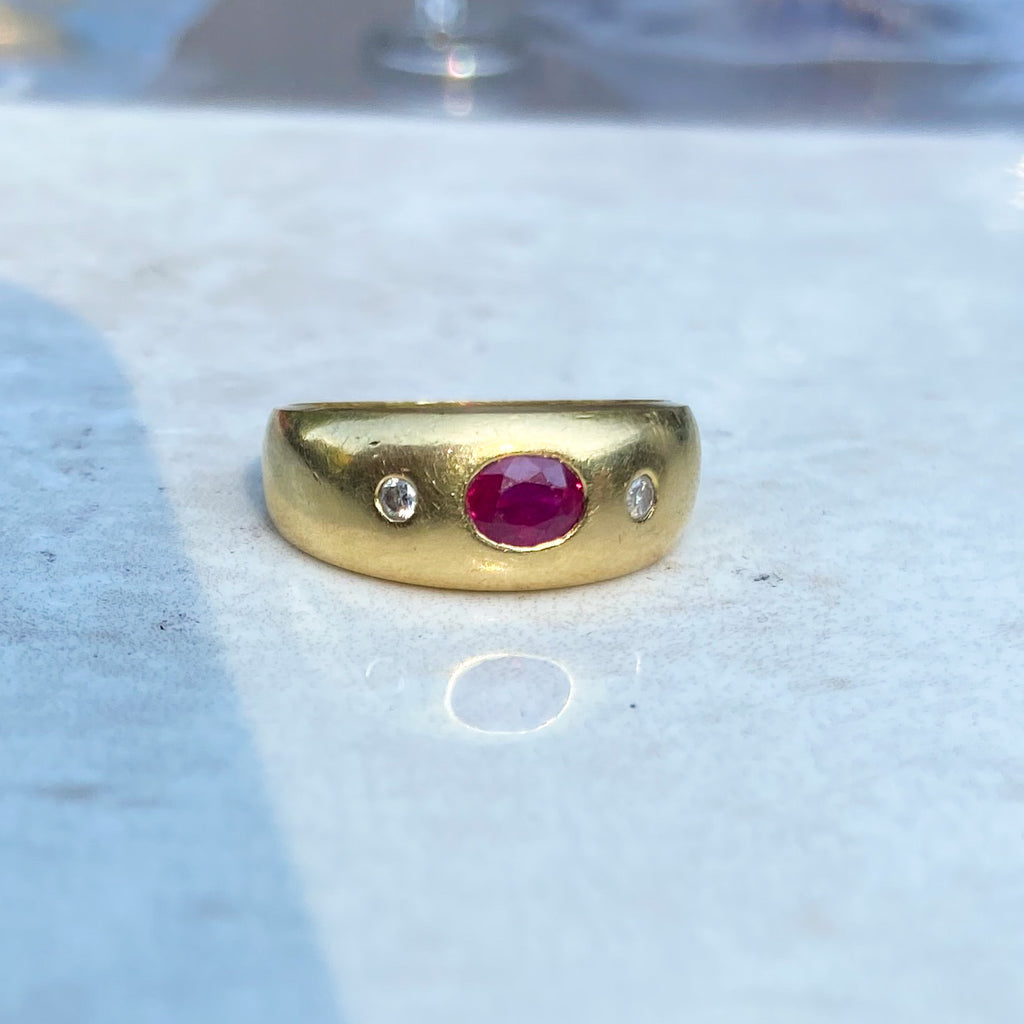 Oval Ruby and Diamond Gypsy Ring, 18ct gold, 1909