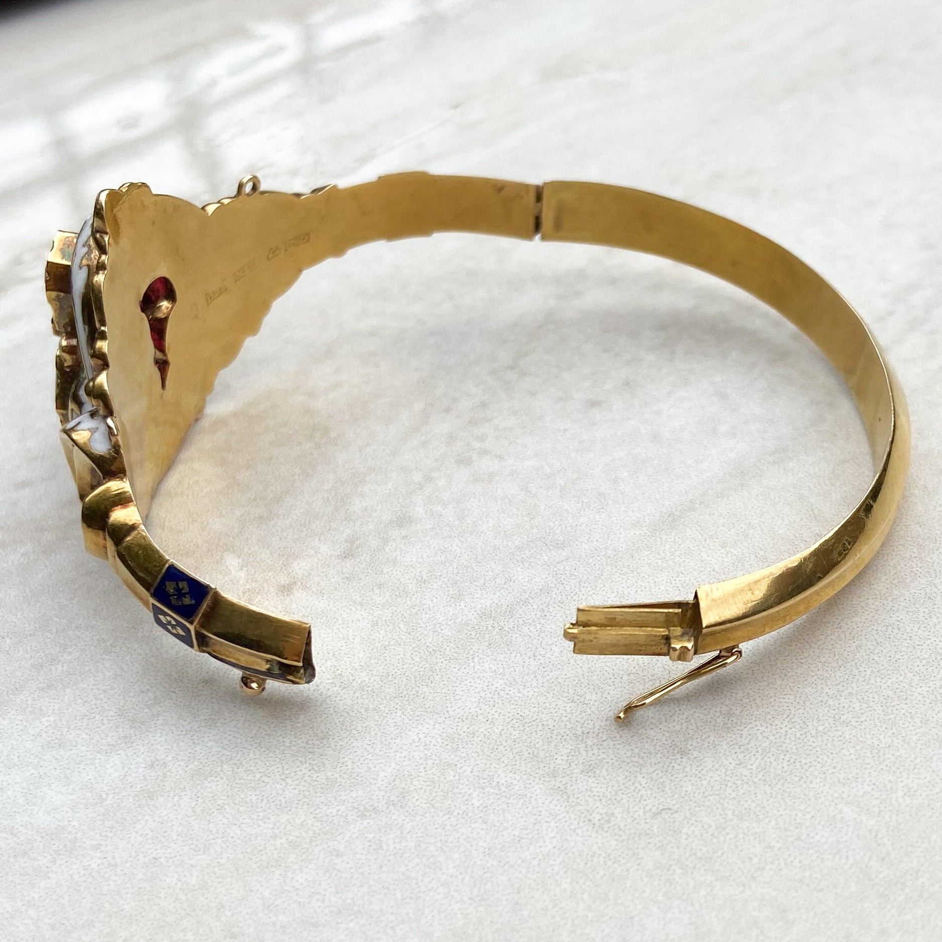 Swedish Gold, Paste and Enamel Baroque Style Bangle c.1850