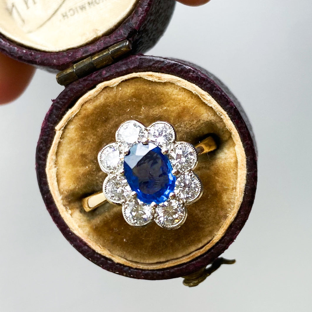 Vintage 1.20ct Sapphire and Diamond Cluster Ring