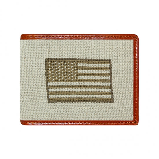 SMATHERS & BRANSON ARMED FORCES FLAG NEEDLEPOINT WALLET