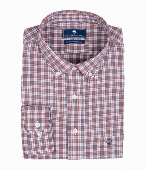SOUTHERN SHIRT L/S TANNER PLAID - RED OAK