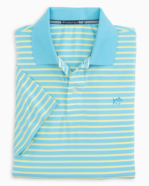 SOUTHERN TIDE DRIVER TRI-COLOR STRIPED PERFORMANCE POLO SHIRT