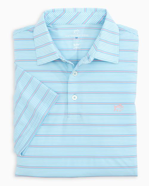 SOUTHERN TIDE DRIVER BRRR STRIPED PERFORMANCE POLO SHIRT