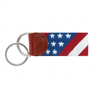 SMATHERS & BRANSON STAR SPANGLED BANNER NEEDLEPOINT KEY FOB