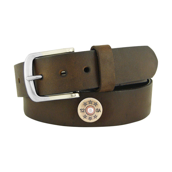 BROWN PULL UP LEATHER BELT - SHOT SHELL