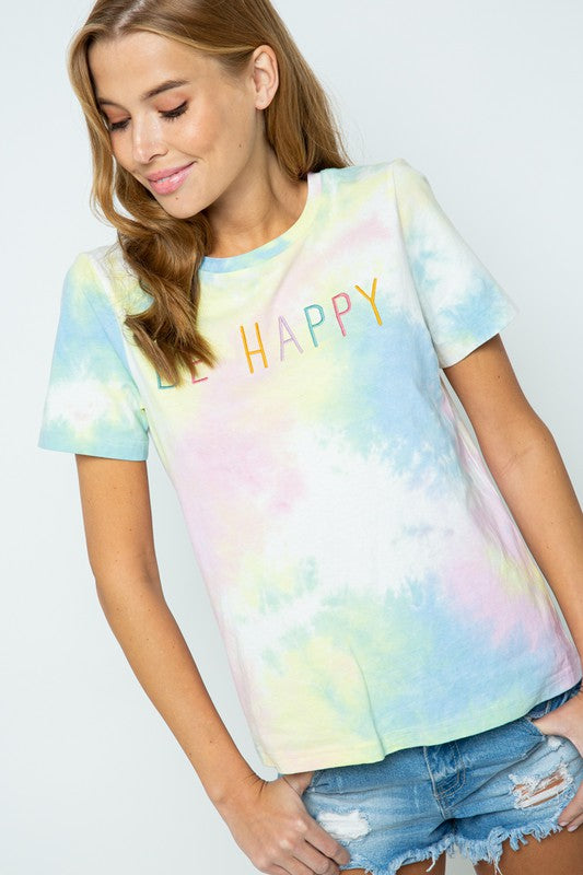BE HAPPY TYE-DYE TEE SHIRT