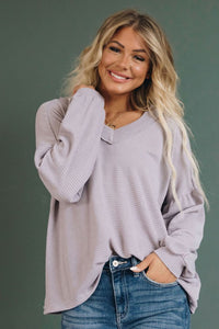 LADIES BILLOWED SLEEVE THERMAL KNIT TOP