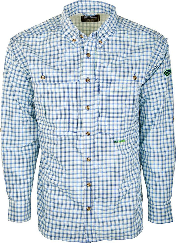DRAKE FEATHERLITE PLAID WINGSHOOTER'S SHIRT L/S - BLUE