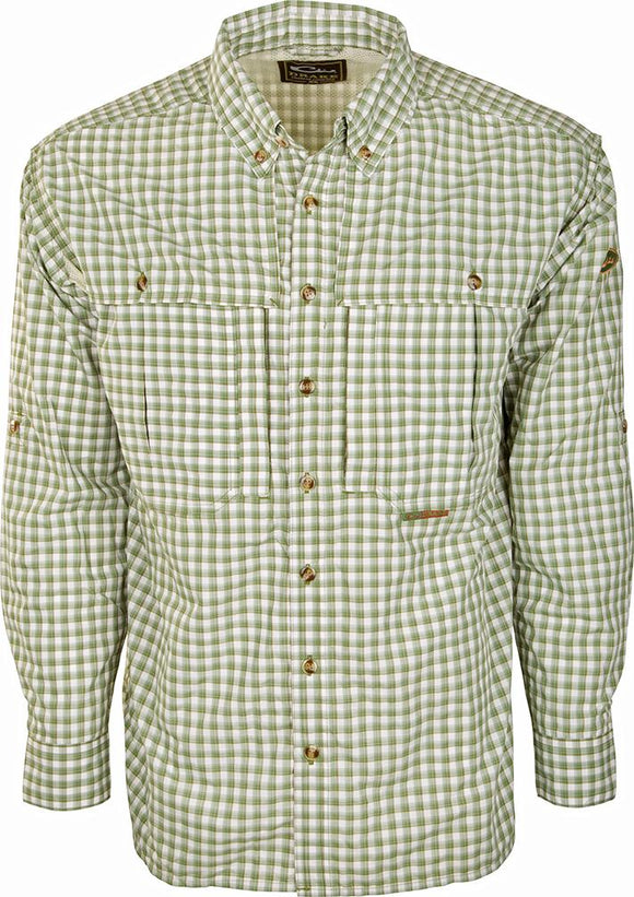 DRAKE FEATHERLITE PLAID WINGSHOOTER'S SHIRT L/S - GREEN