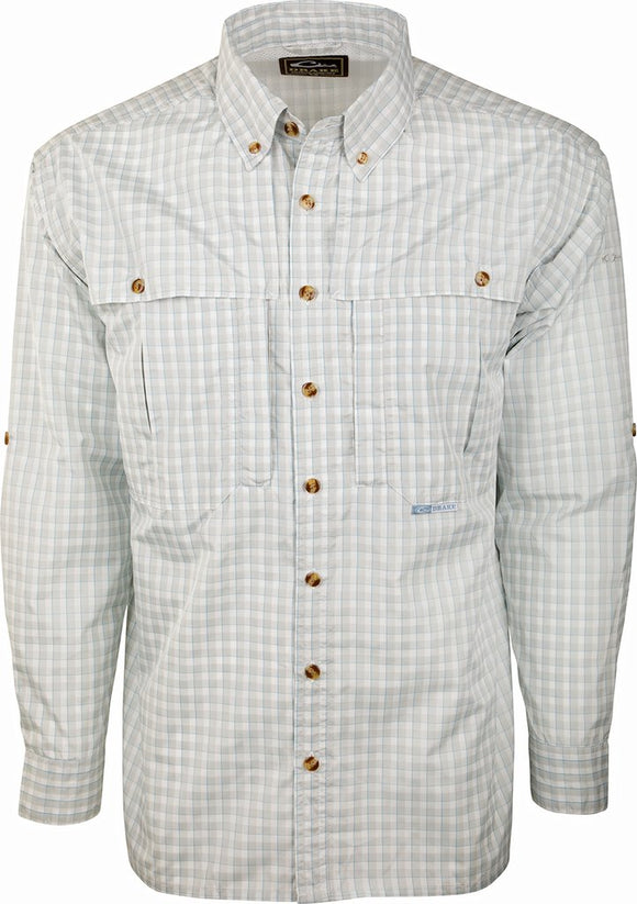 DRAKE FEATHERLITE PLAID WINGSHOOTER'S SHIRT L/S - GRAY