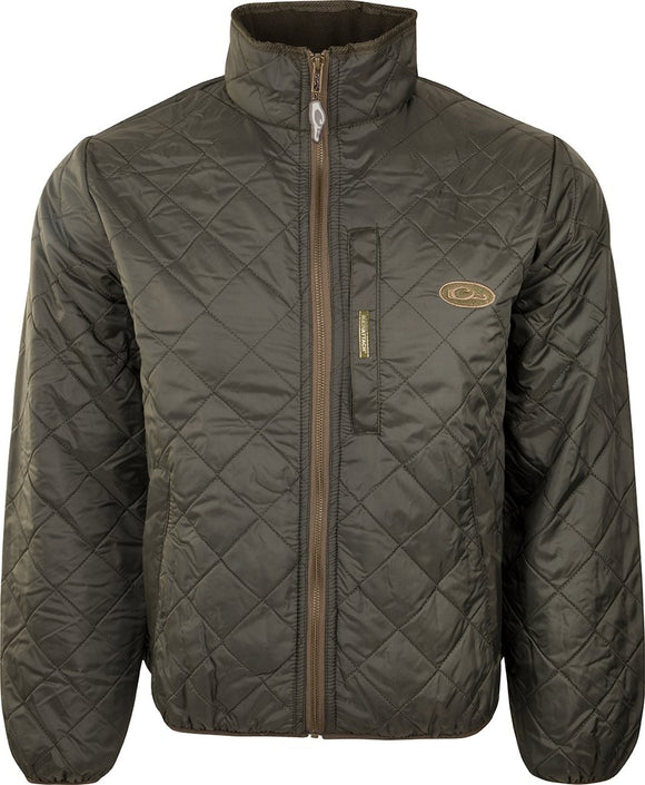 DRAKE DELTA FLEECE-LINED QUILTED JACKET - OLIVE