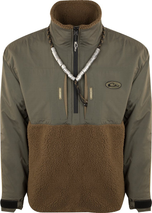 DRAKE MST GUARDIAN FLEX SHERPA EQWADER QTR ZIP - GREEN TIMBER
