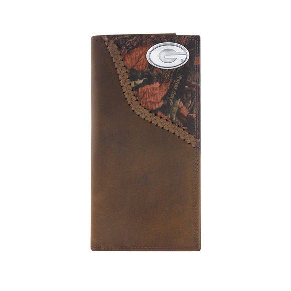 CAMO LEATHER ROPER WALLET - UGA