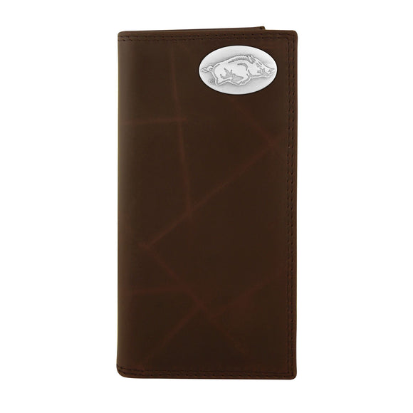 BROWN PEBBLE GRAIN ROPER WALLET - PACKERS/ARKANSAS