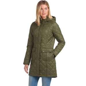 LADIES BARBOUR JENKINS QUILTED HOODED PARKA - OLIVE