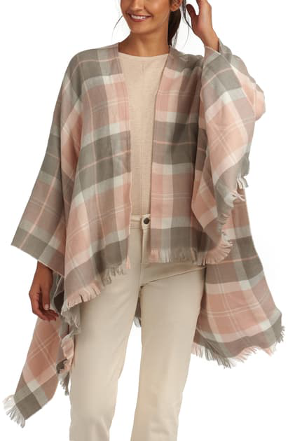 LADIES BARBOUR STAFFIN TARTAN WRAP - PINK/GREY