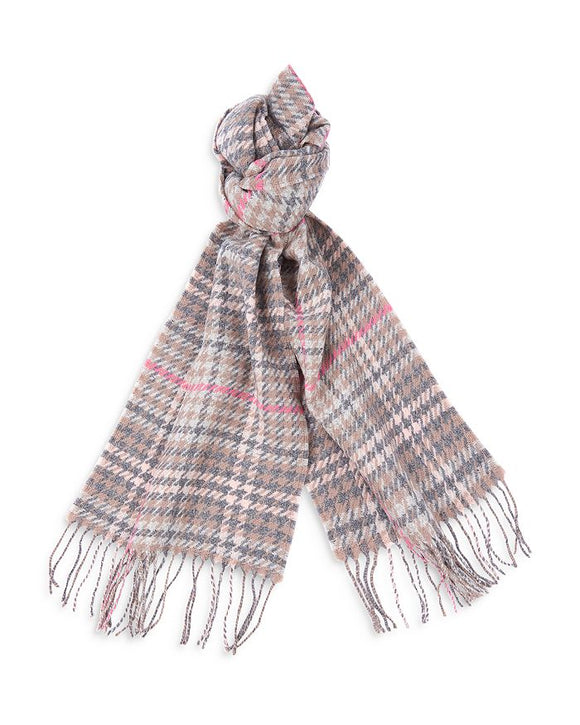 LADIES BARBOUR HOUNDSTOOTH TARTAN SCARF - TAUPE/PINK