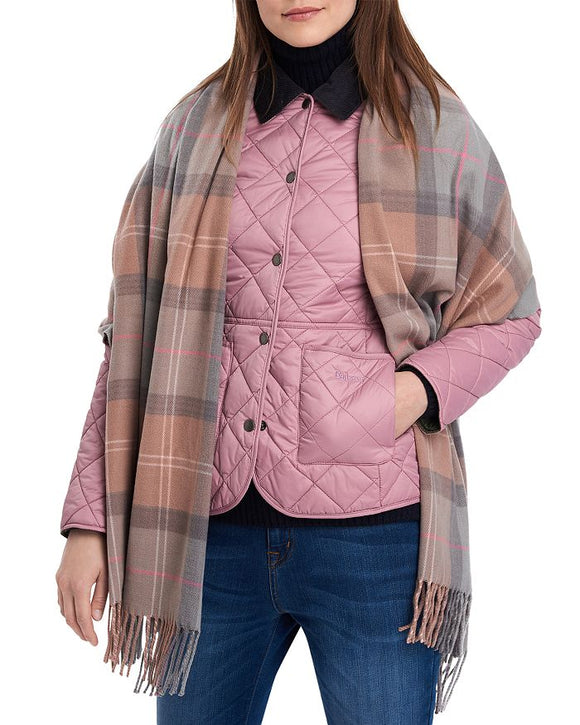 LADIES BARBOUR HAILES TARTAN WRAP - TAUPE/PINK