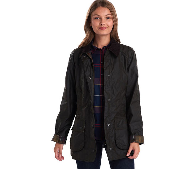LADIES BARBOUR CLASSIC BEADNELL® WAX JACKET - OLIVE