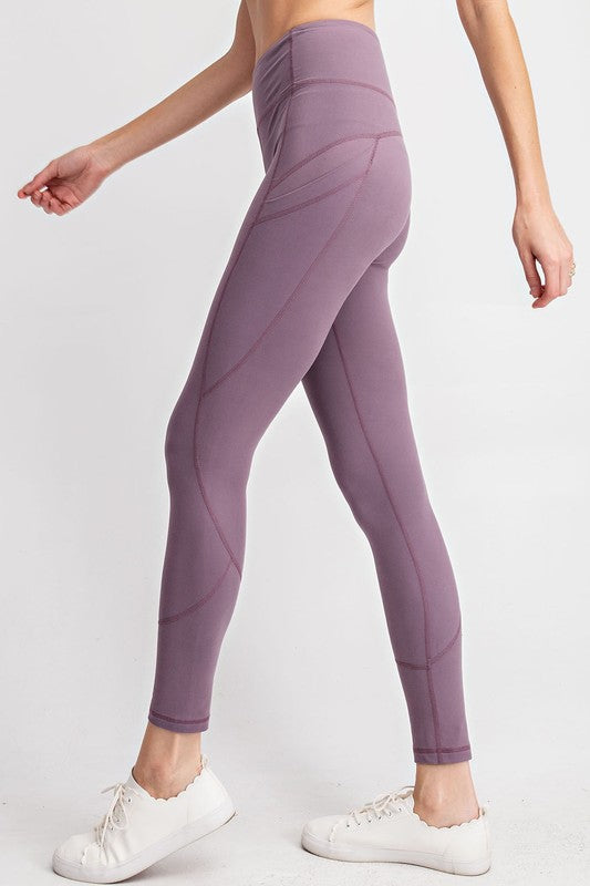 COMPRESSION FULL LENGTH ACTIVE LEGGINGS - MULBERRY