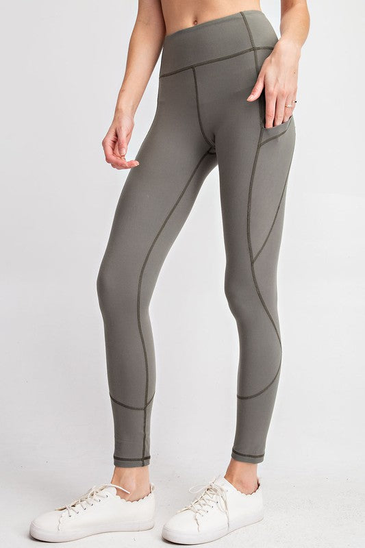 COMPRESSION FULL LENGTH ACTIVE LEGGINGS - GREY SAGE