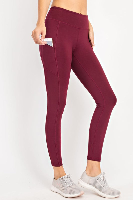 COMPRESSION FULL LENGTH ACTIVE LEGGINGS - BURGUNDY