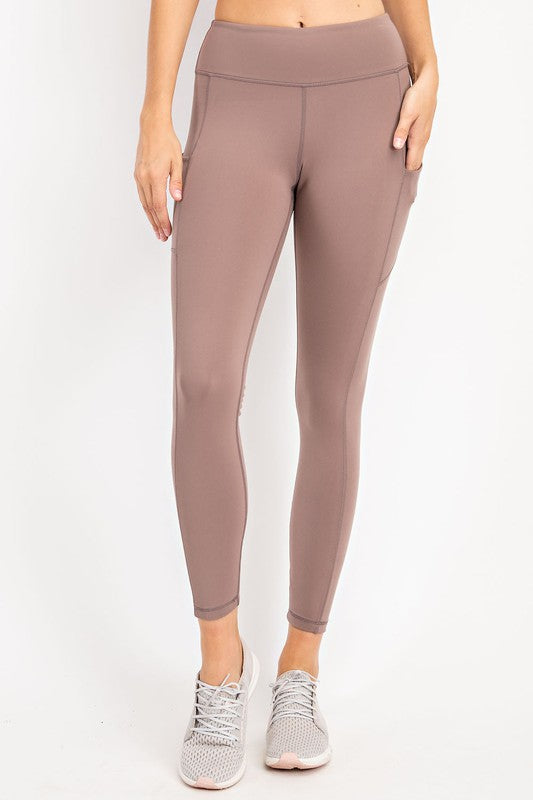 COMPRESSION FULL LENGTH ACTIVE LEGGINGS - TOASTED ALMOND