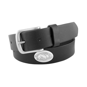 BLACK LEATHER BELT - PACKERS/RAZORBACKS