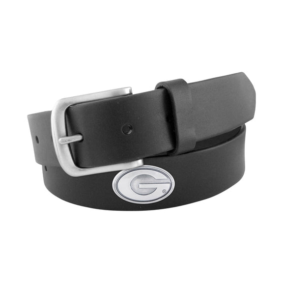 BLACK LEATHER BELT - UGA