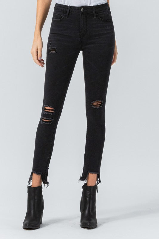 Vervet Mid Rise Distressed Black Skinny