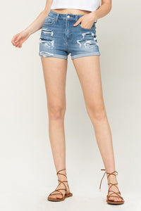 VERVET HIGH RISE DISTRESSED PATCHED CUFFED SHORT