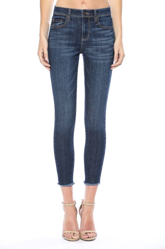 CELLO MID RISE FRAYED HEM CROP SKINNY