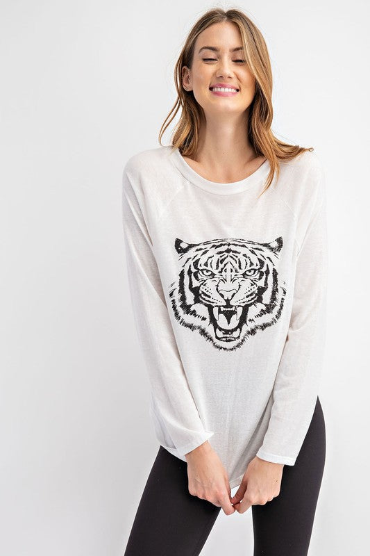 TIGER FACE TRI-BLEND ROUND NECK KNIT