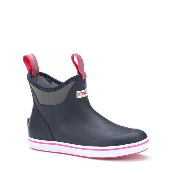 WOMENS XTRATUF-6IN  ANKLE DECK BOOT-NAVY/PINK