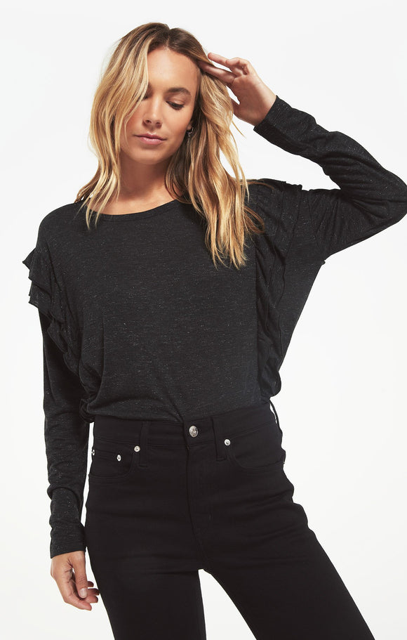 Z SUPPLY ADELE SPARKLE RUFFLE TOP - BLACK