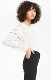 Z SUPPLY ADELE SPARKLE RUFFLE TOP - OATMEAL