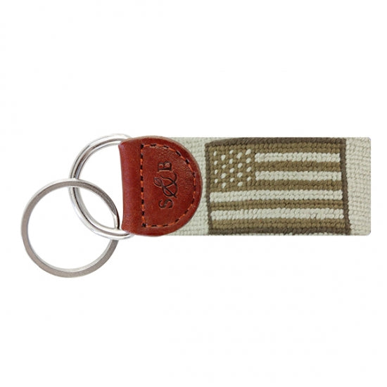 SMATHERS & BRANSON ARMED FORCES FLAG NEEDLEPOINT KEY FOB