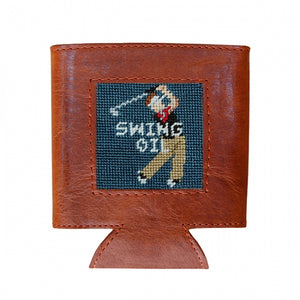 SMATHERS & BRANSON SWING OIL NEEDLEPOINT CAN COOLER