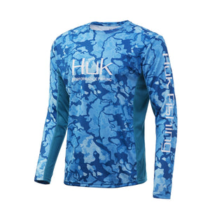 HUK ICON X CURRENT CAMO LONG SLEEVE