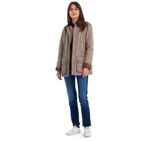LADIES BARBOUR BEADNELL POLARQUILT JACKET - TAUPE