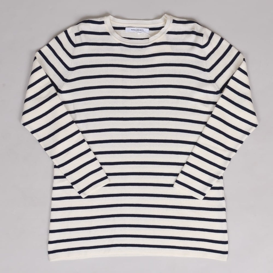 Norse Projects Ladies Christina Dry Cotton Knit Ecru/Navy