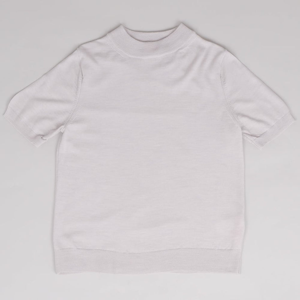 Sunspel Funnel Neck T-Shirt Mist Melange