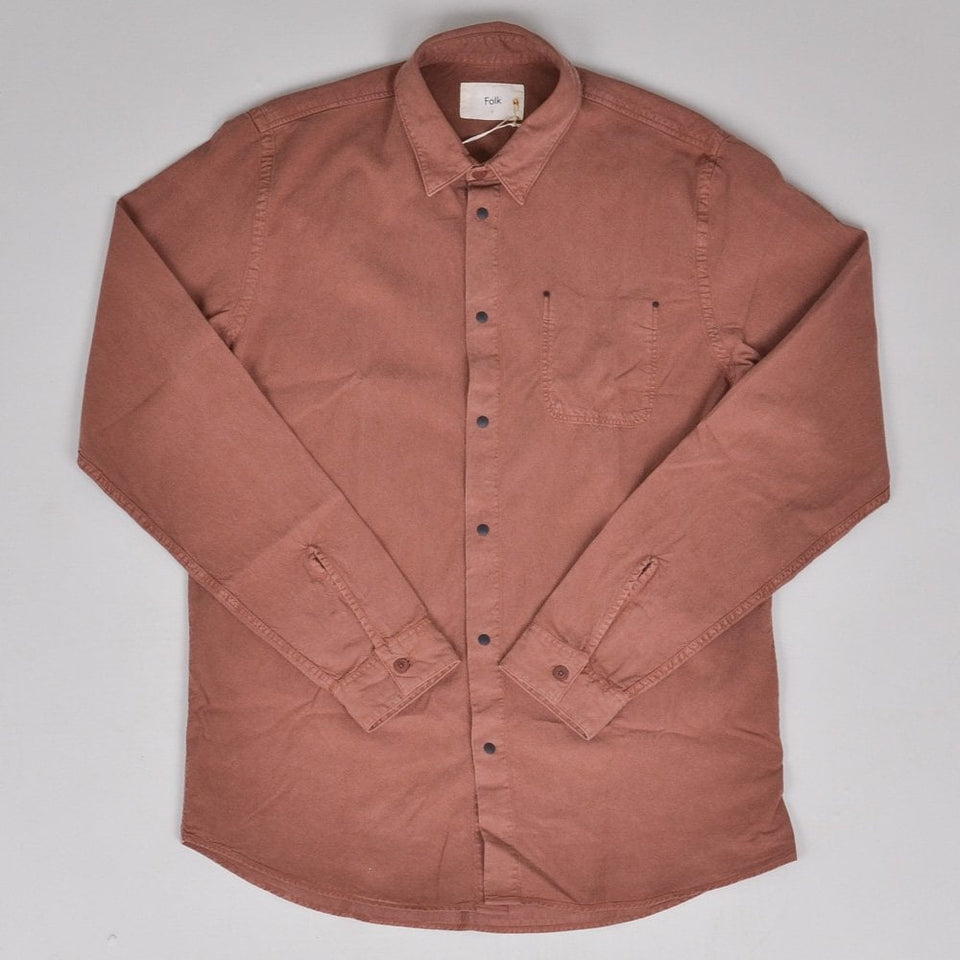 Folk Stitch Pocket Shirt - Tan Twill
