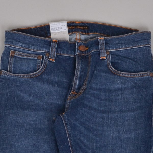 Nudie Jeans Tight Terry - Mid Blue Orange
