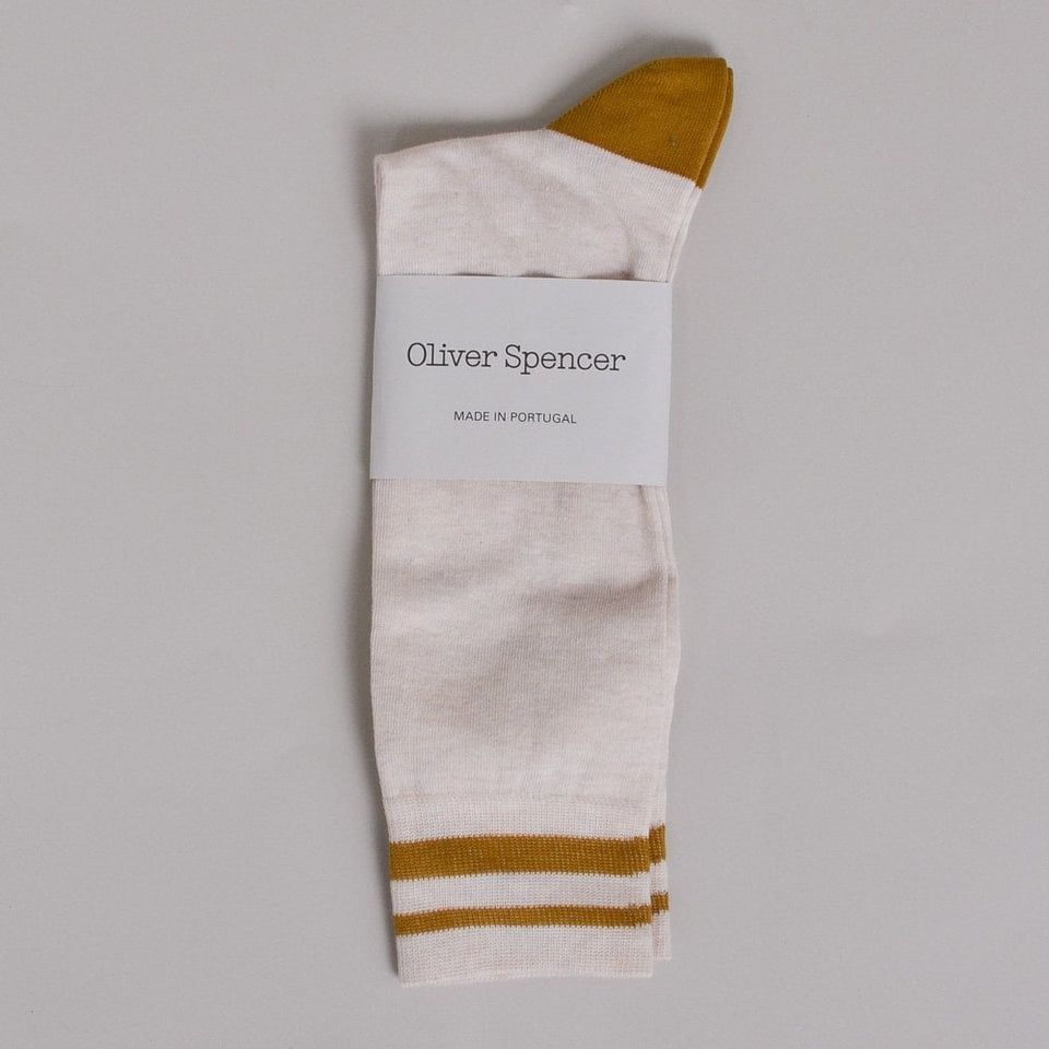 Oliver Spencer Conyer Miller Sock - Oatmeal/Yellow