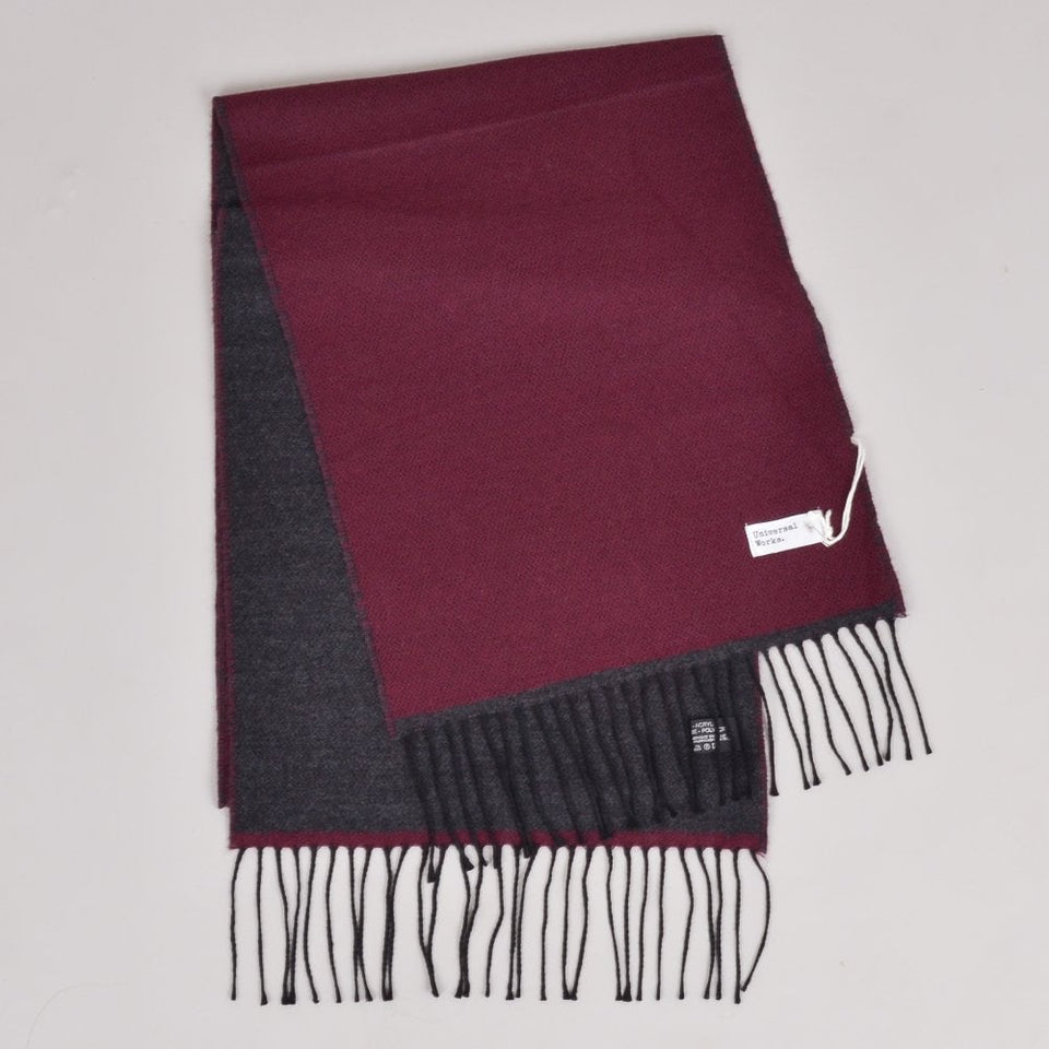 Universal Works Double Sided Scarf - Claret/Charcoal