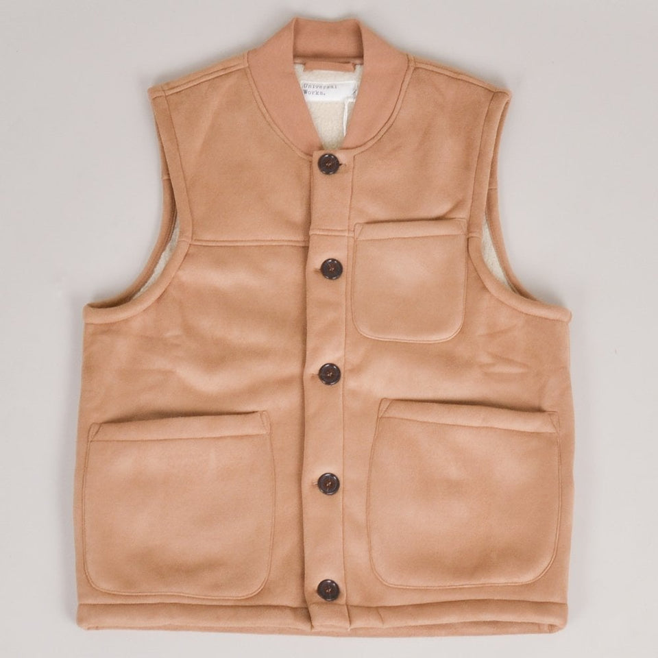 Universal Works Chore Gilet Faux Shearling - Sand